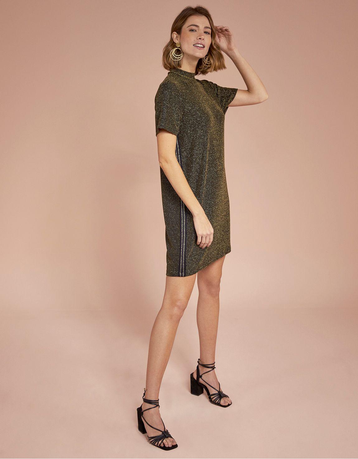 T-shirt dress malha lurex