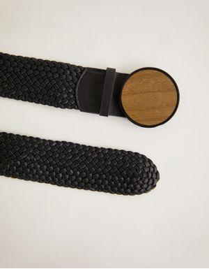 Cinto tresse preto com fivela de madeira
