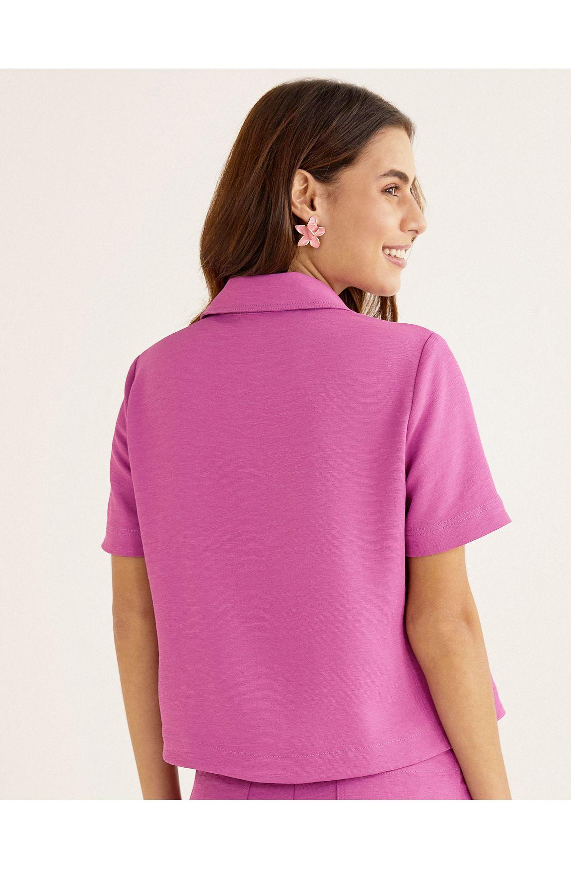 Camisa manga curta bolsos orquídea