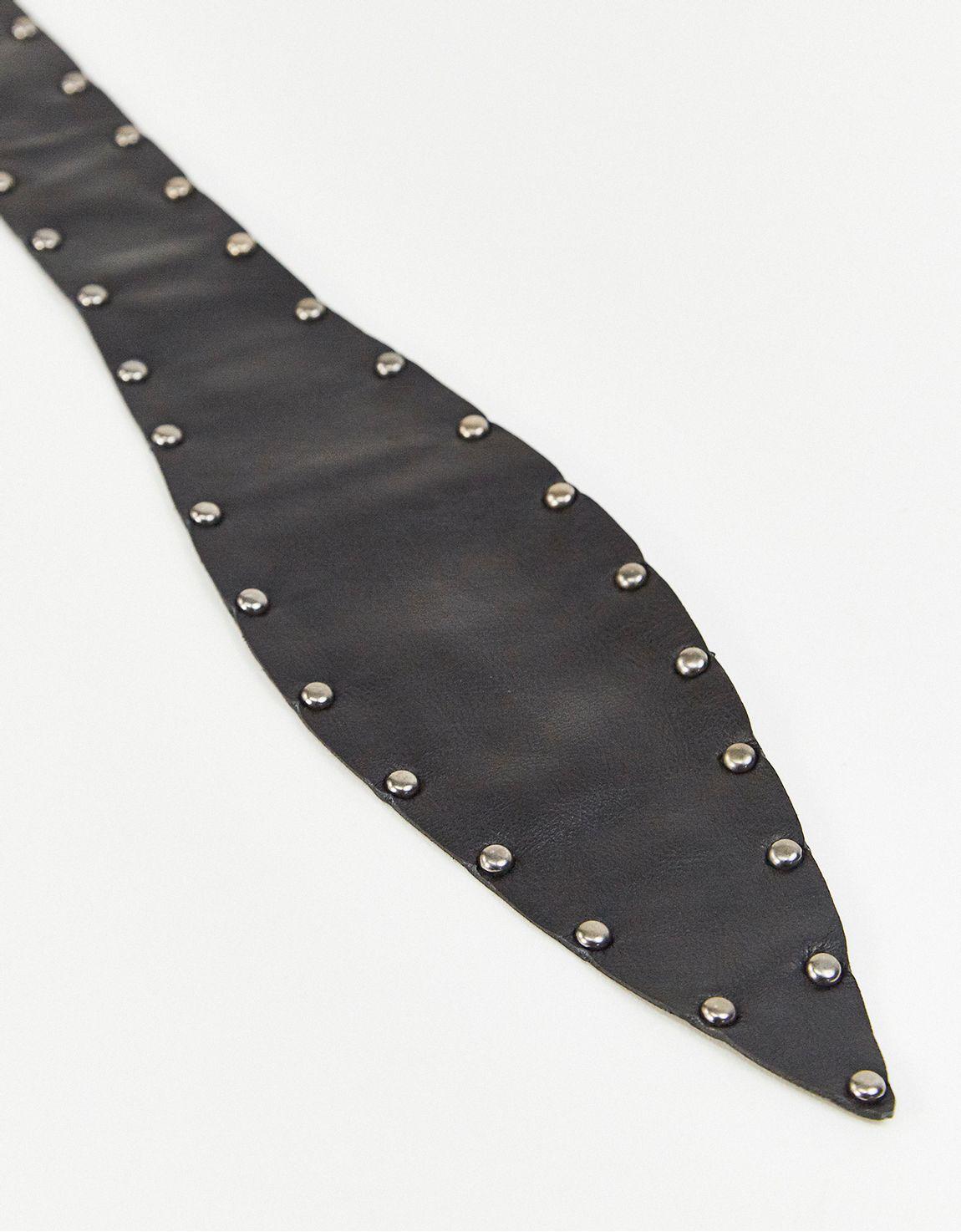 Cinto obi amarração preto tachas metal
