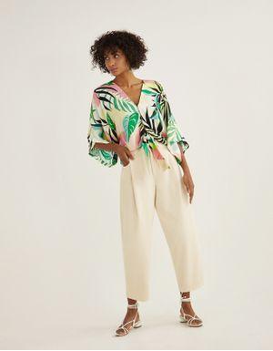 Blusa amarração folhagem colorida