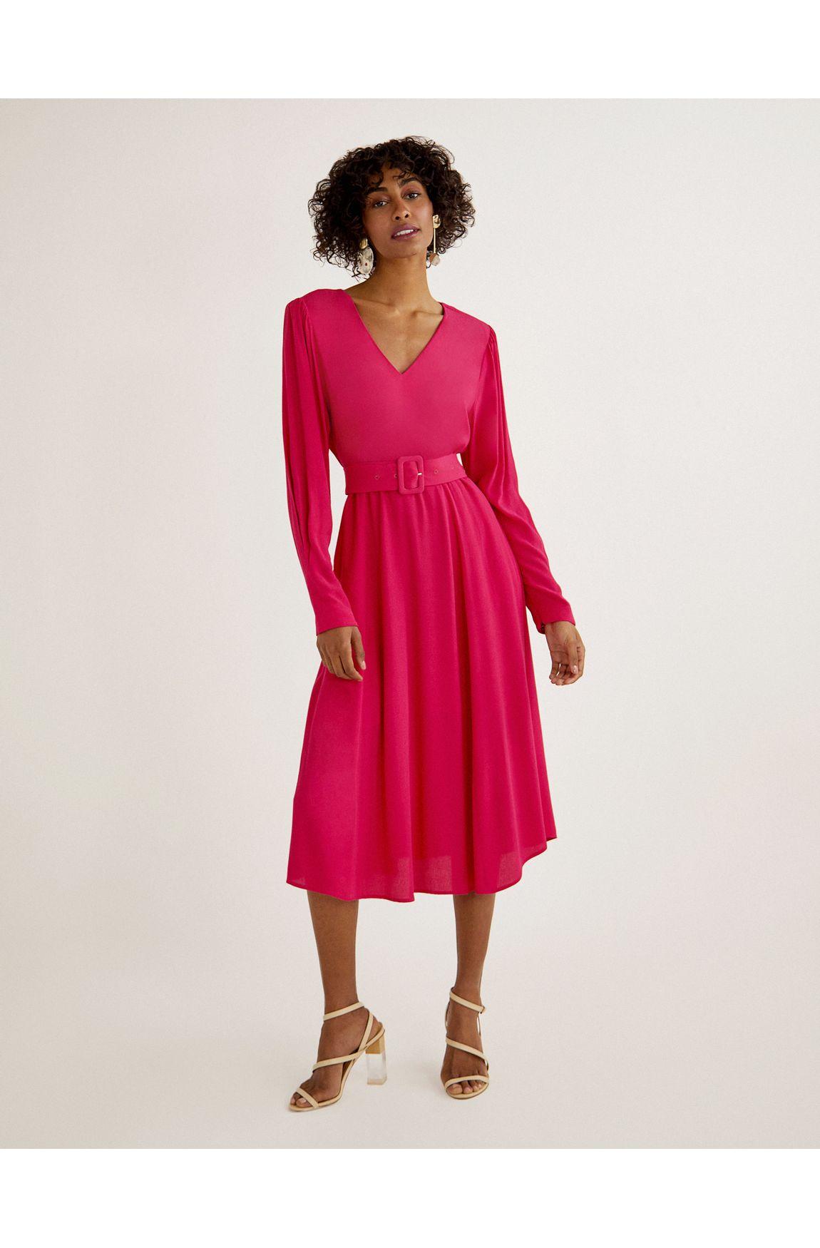 Vestido cropped crepe pink