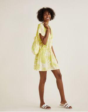 Kit vestido praia folhagem lima + bolsa