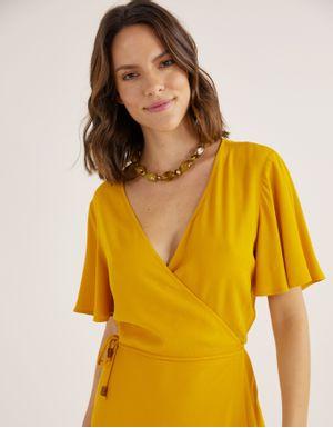 Vestido cache coeur crepe amarelo