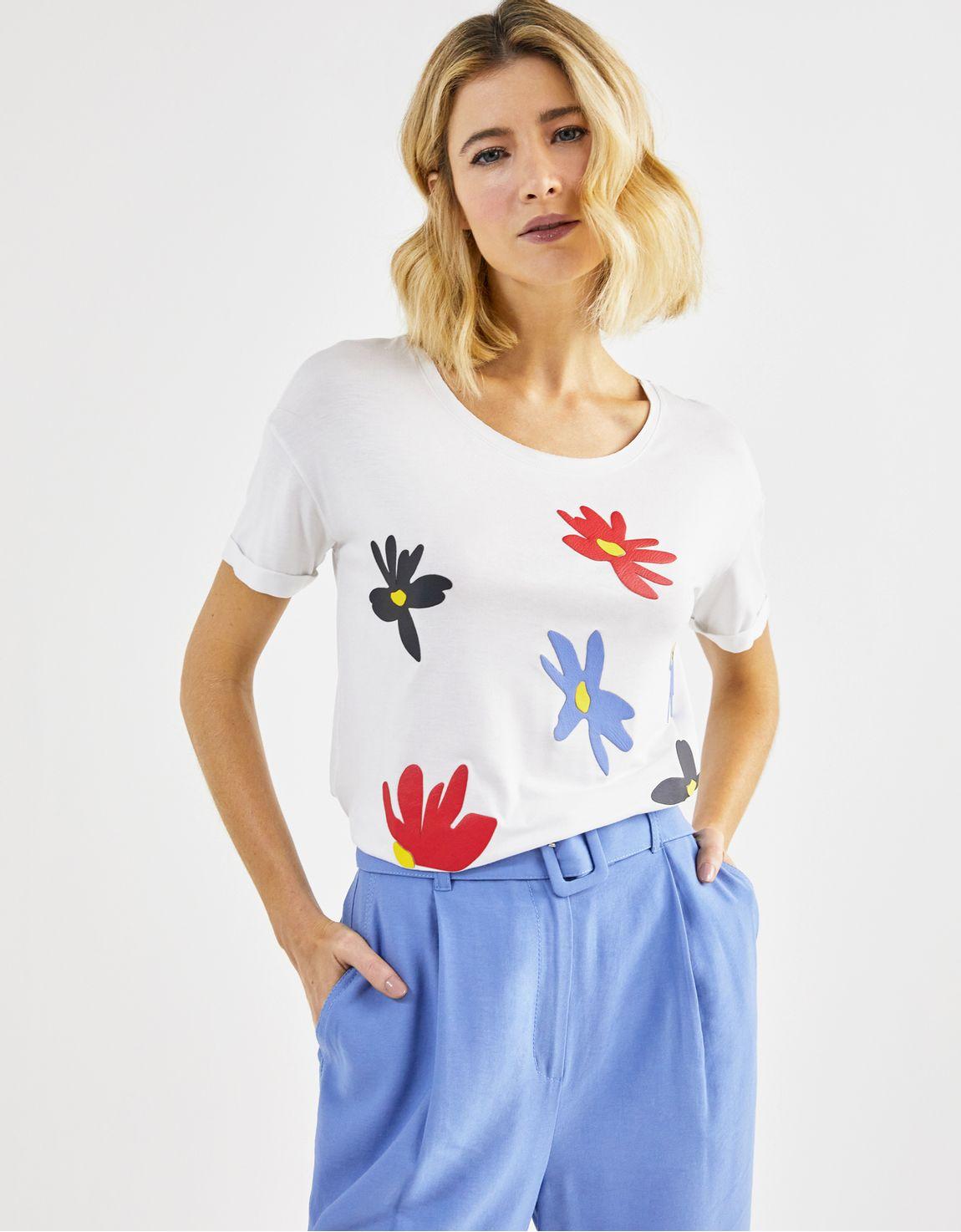 T-shirt flores fusionado