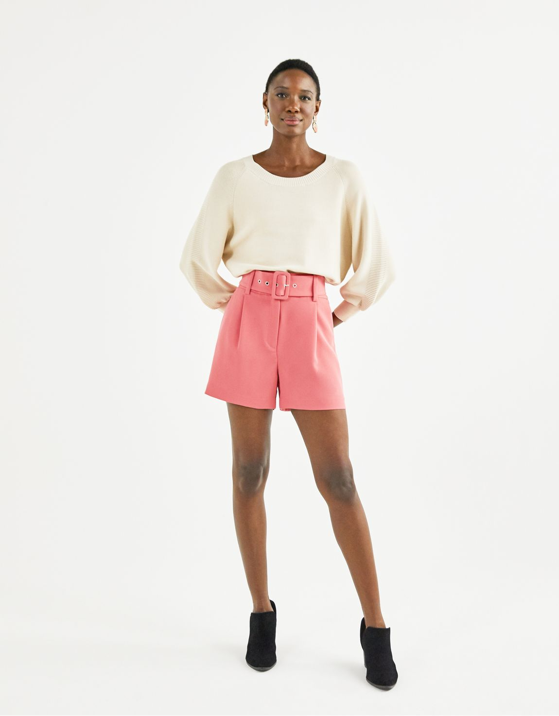Shorts alfaiatado crepe rosa