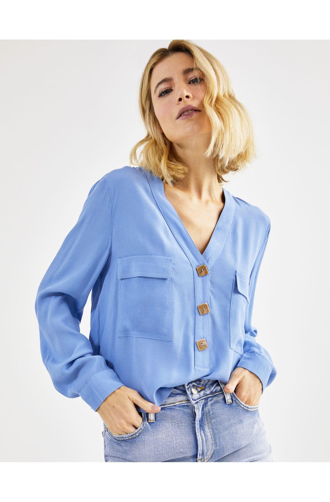 Camisa ampla crepe azul