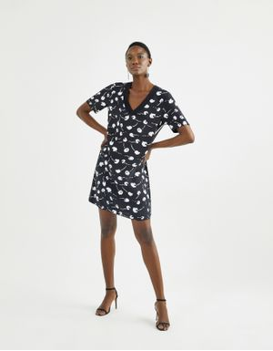 T-shirt dress crepe estampa cereja