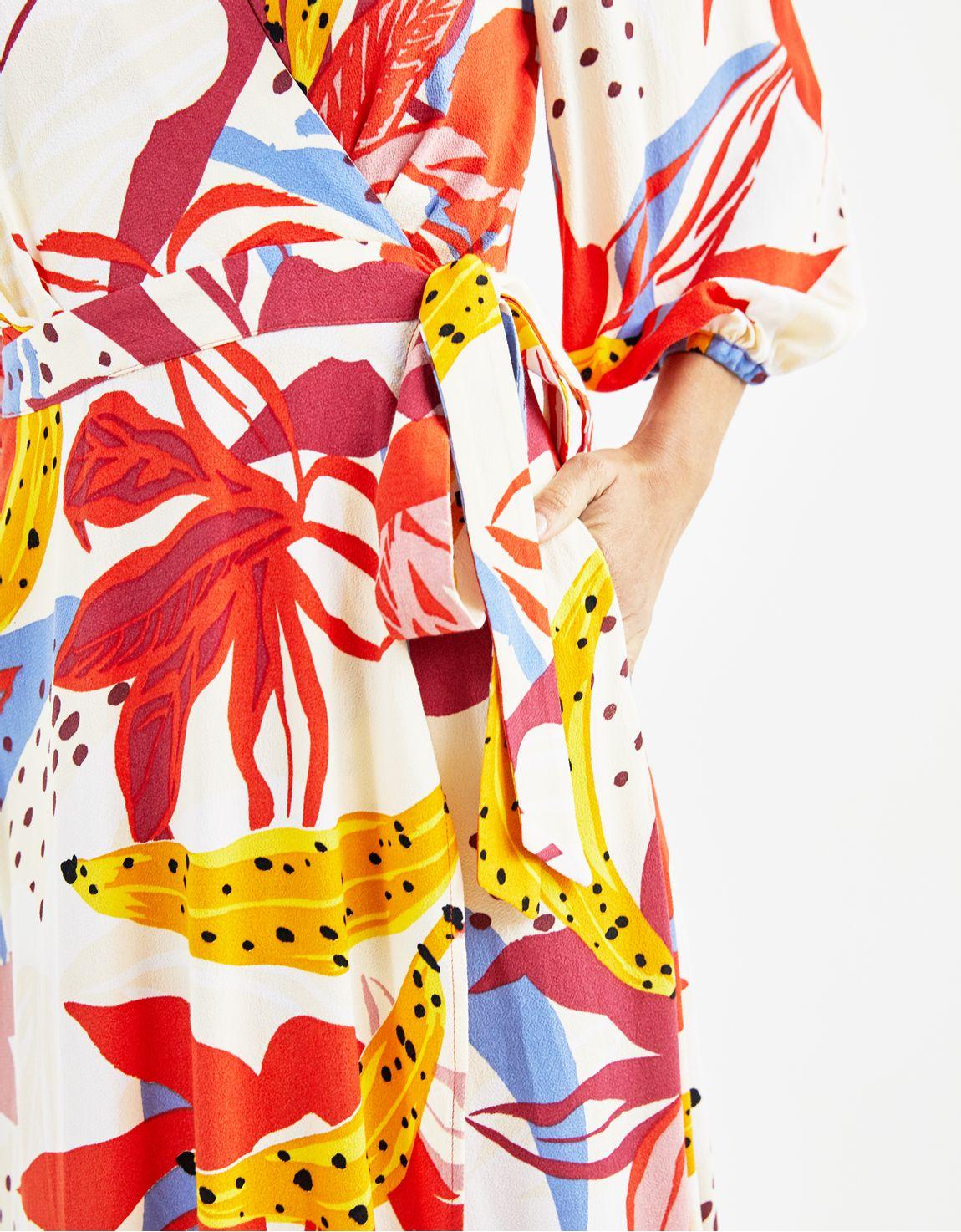 Vestido cache coeur banana e flores