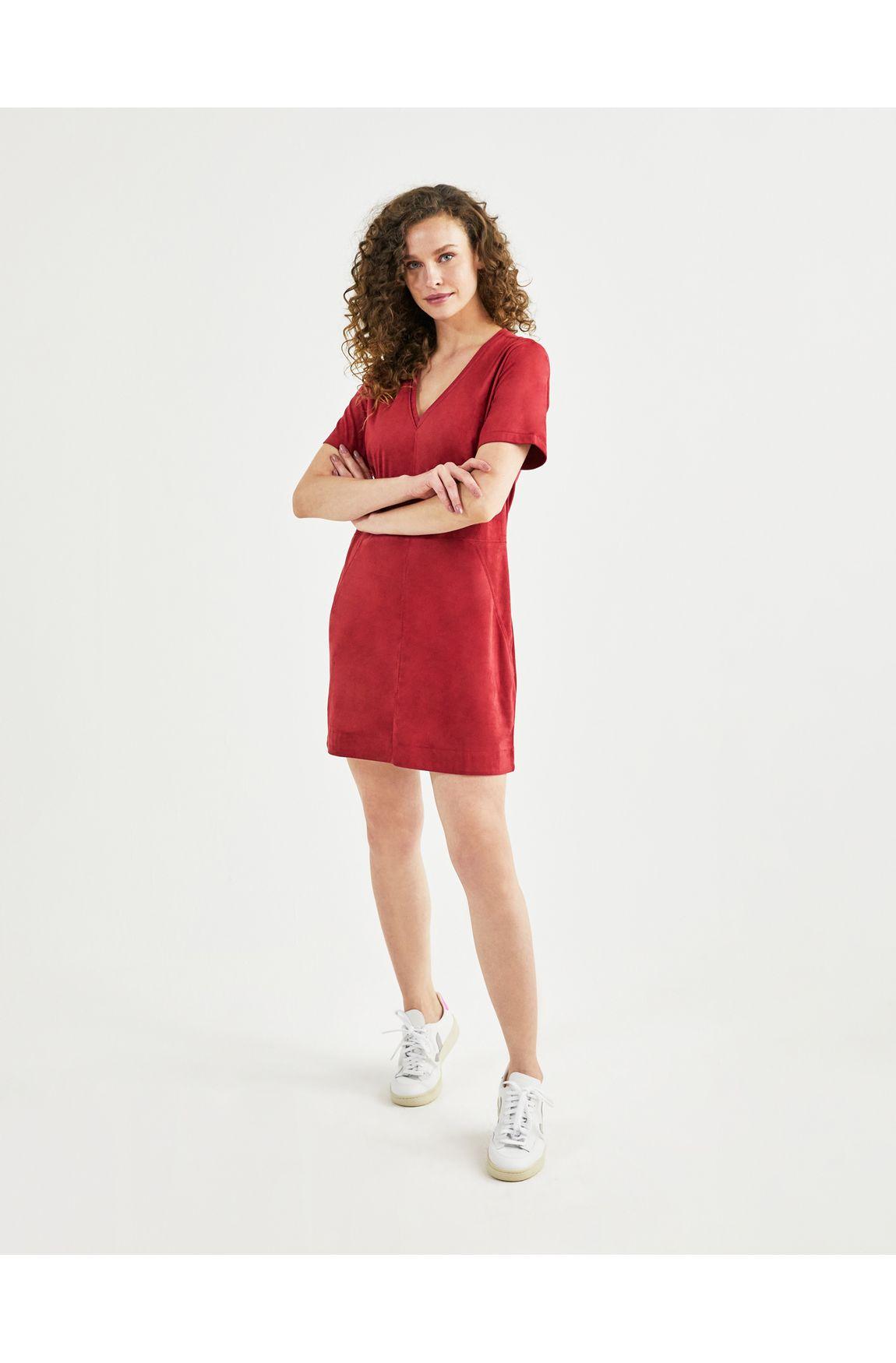 T-shirt dress suede vermelho