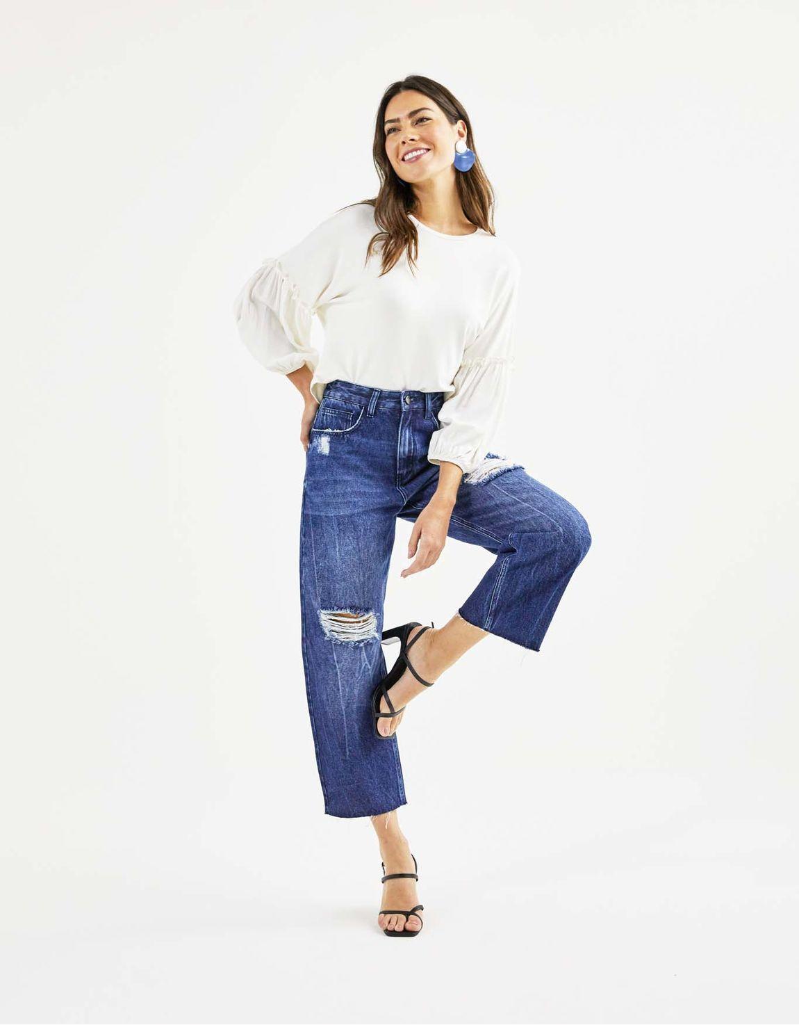 Calça jeans pantacourt puidos