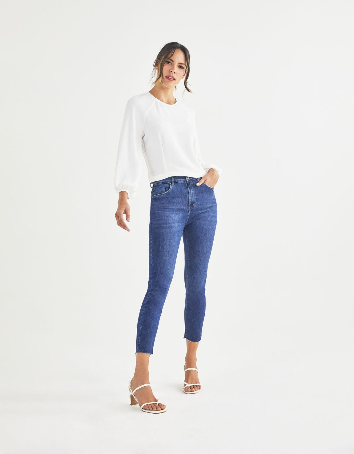 Calça skinny jeans média básica