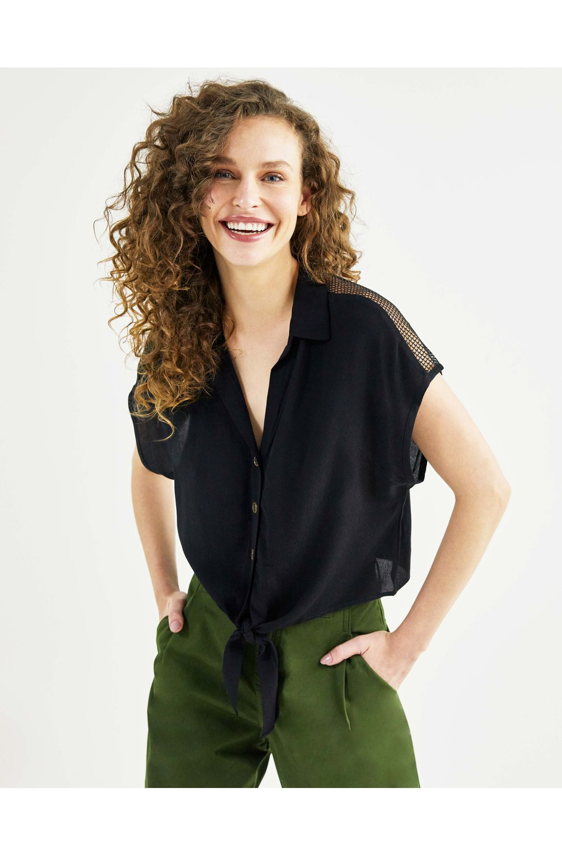 Camisa manga curta tela costas