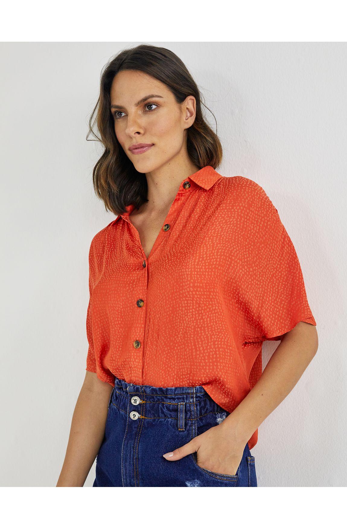 Camisa cetim jacquard laranja