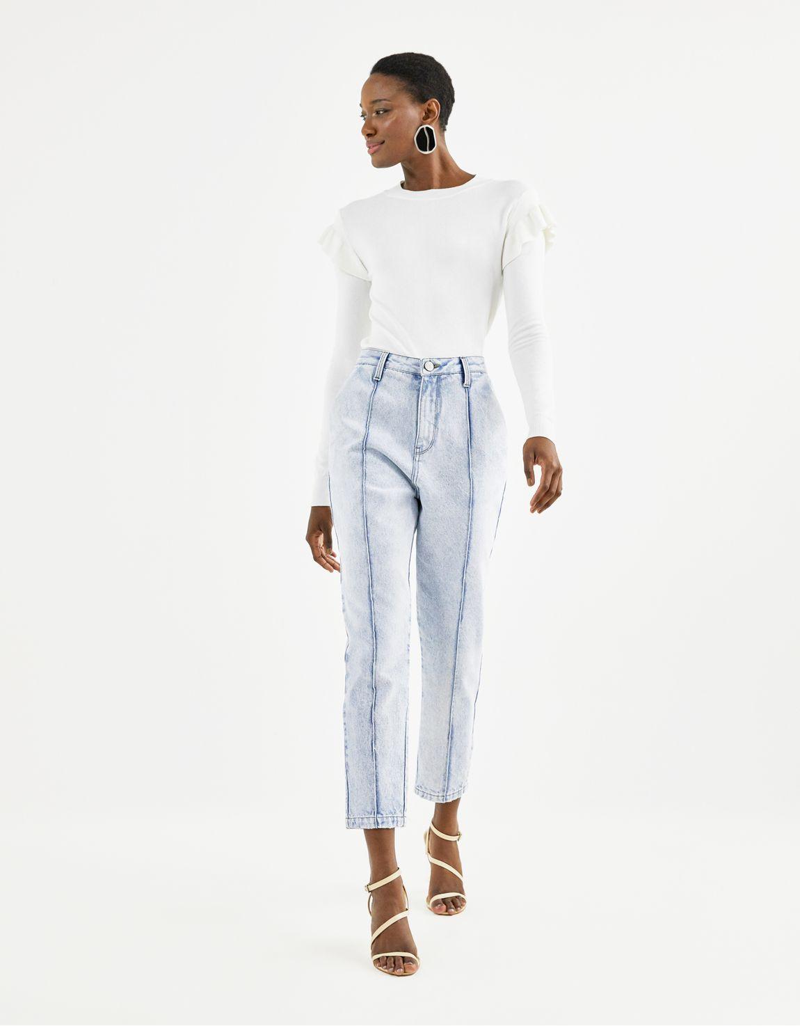 Calça jeans slim com nervura frontal