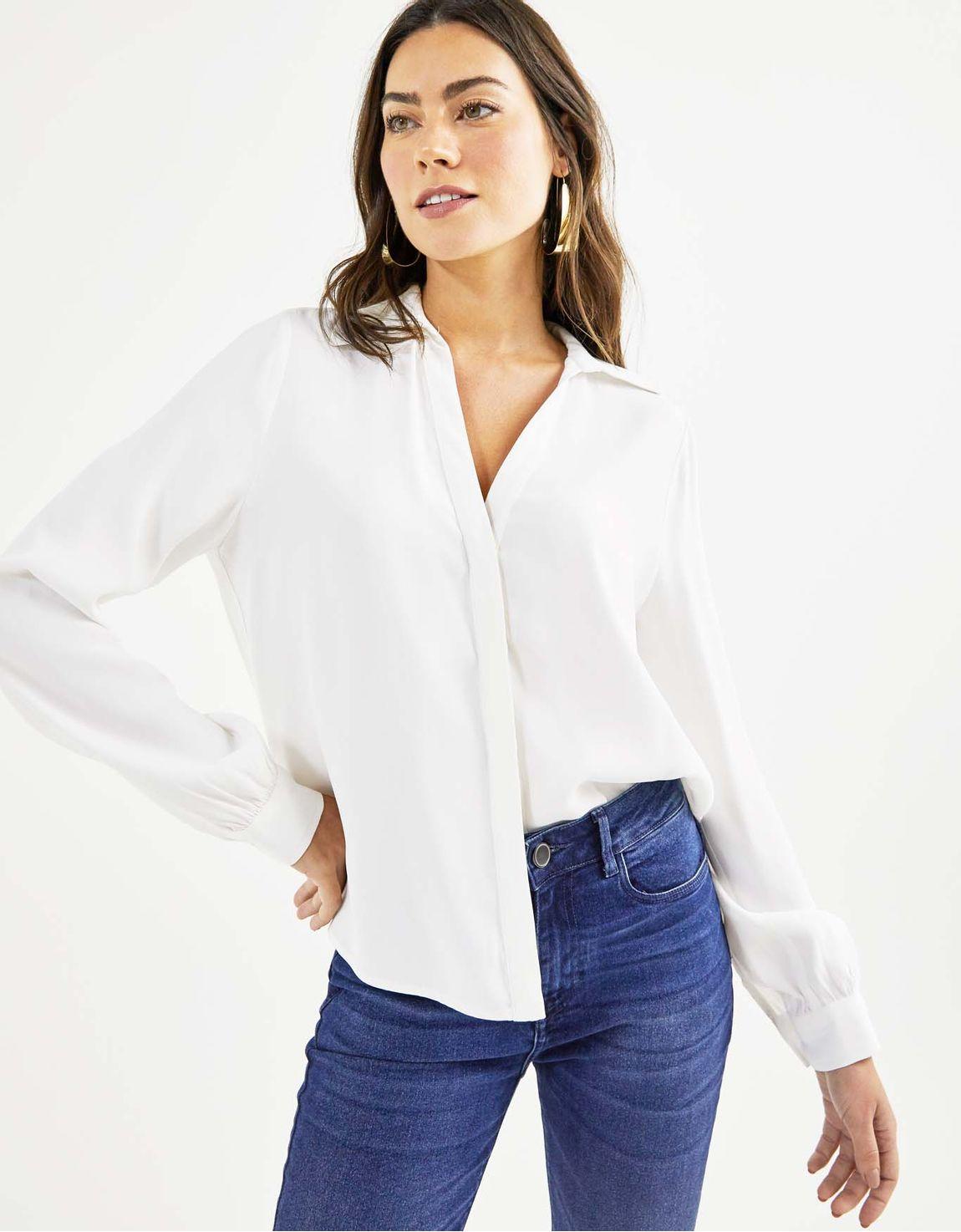 Camisa manga longa crepe