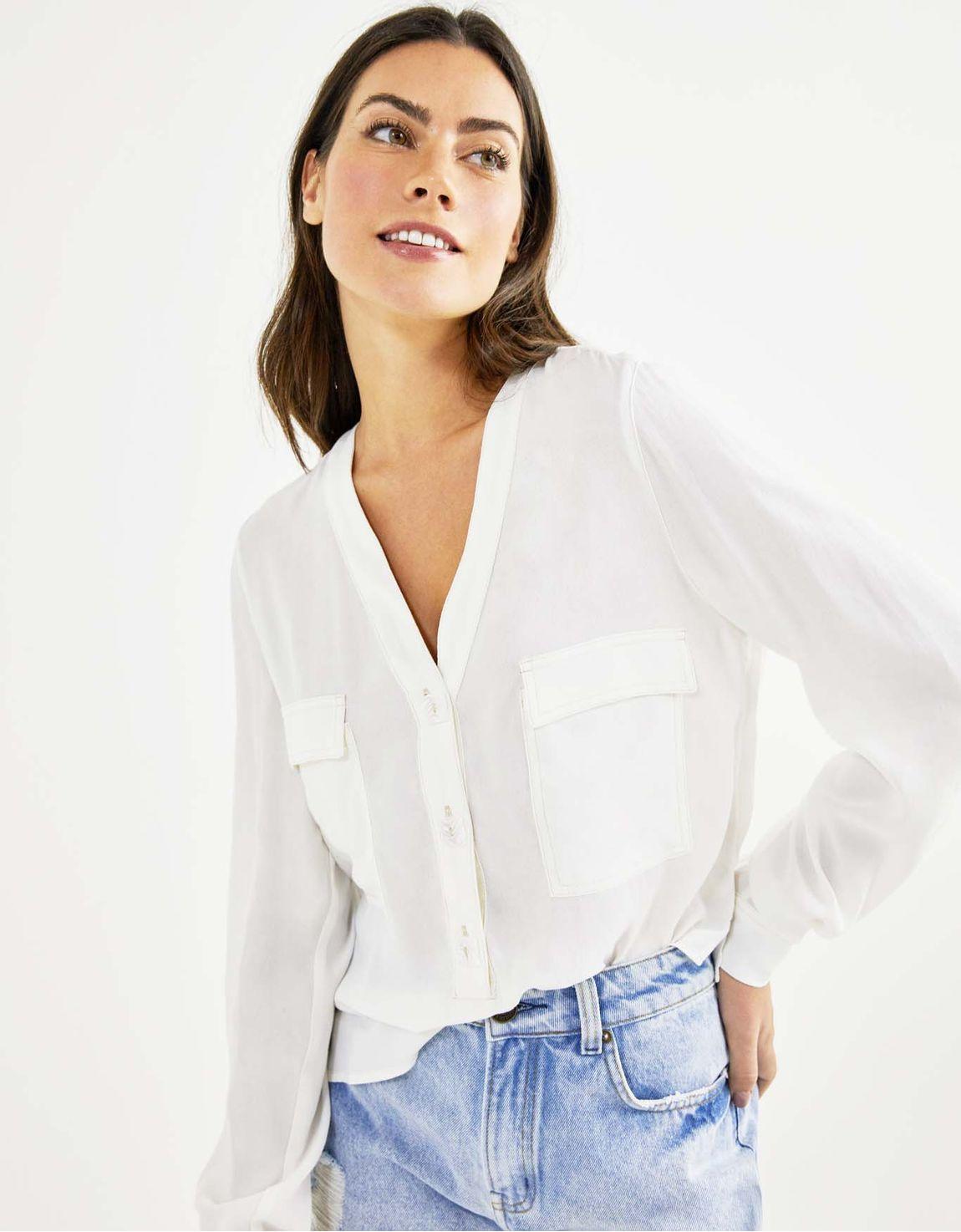 Camisa ampla crepe off white