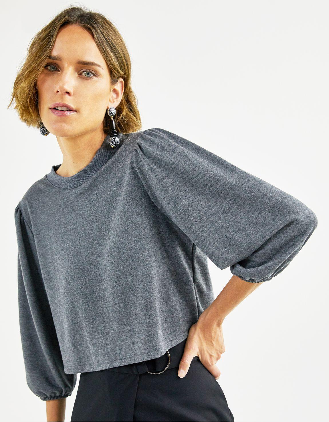 Blusa malha franzido manga