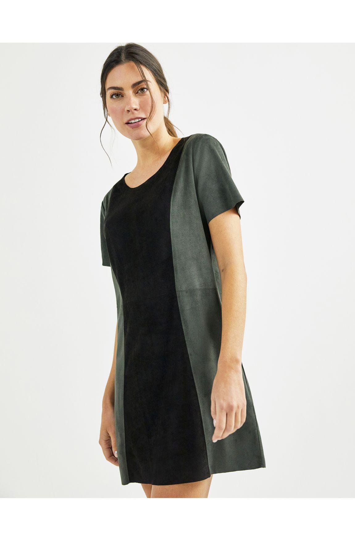 T-shirt dress suede colorblock