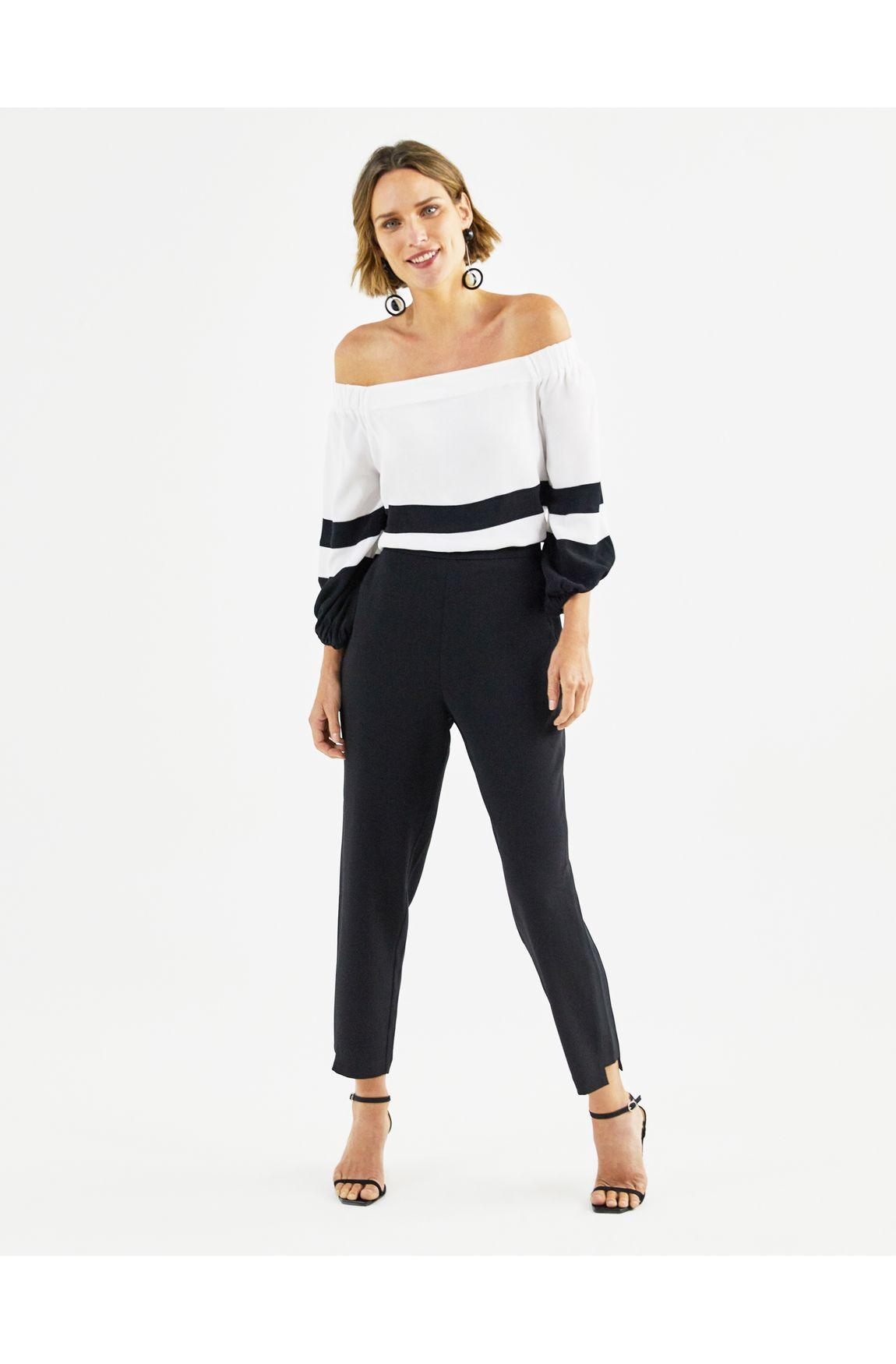 Blusa cigana preto com branco