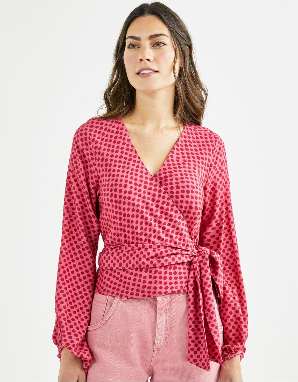 Blusa cache coeur poá rosa
