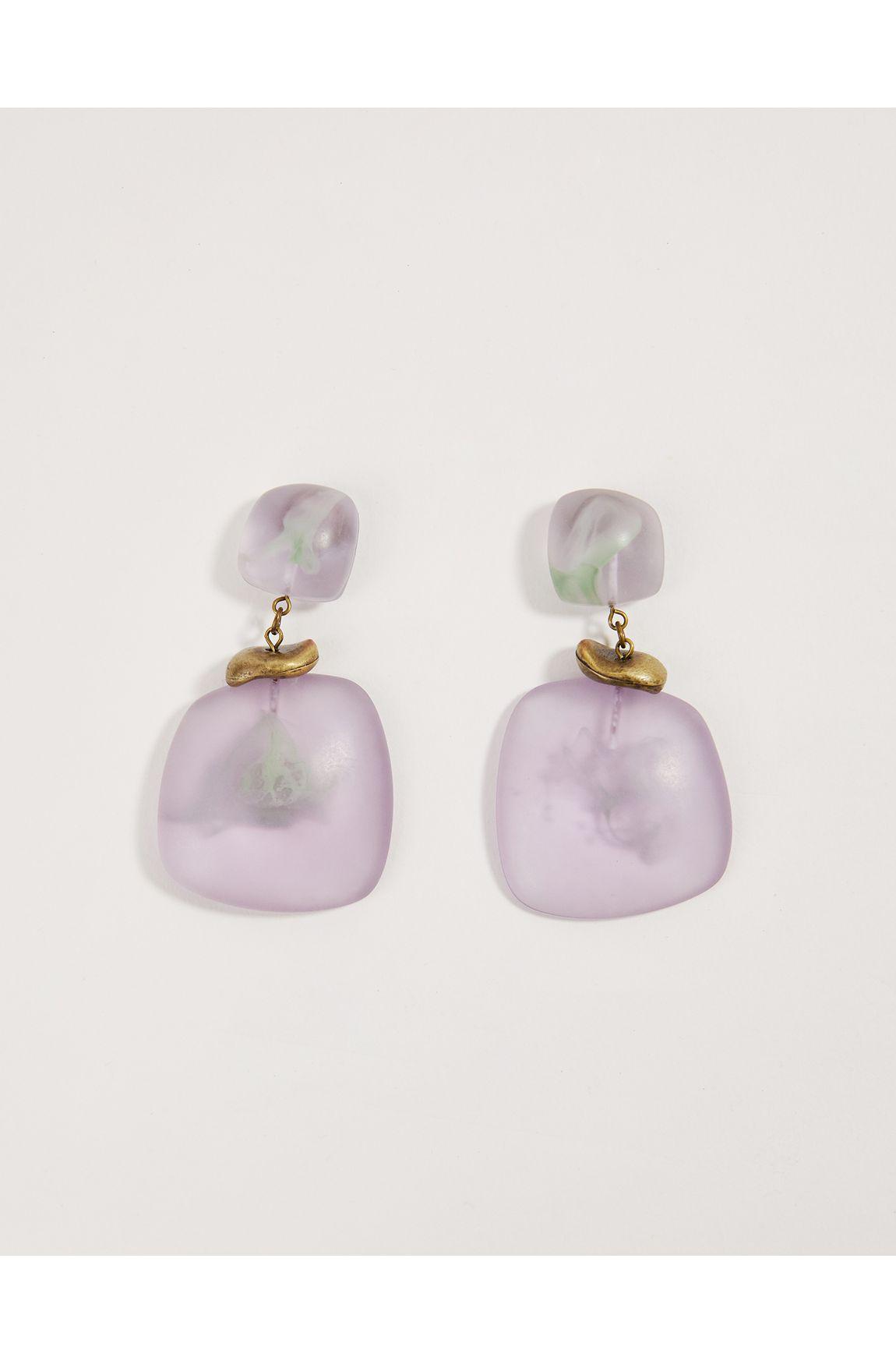 Brinco resina mescla lilas e verde