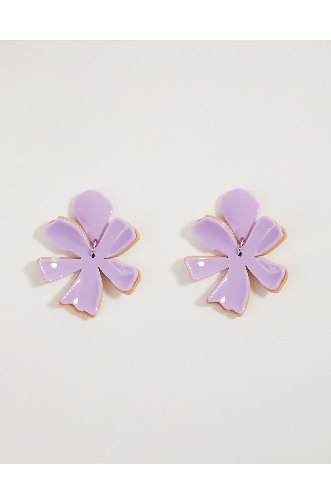 Brinco flor dupla lilas e nude