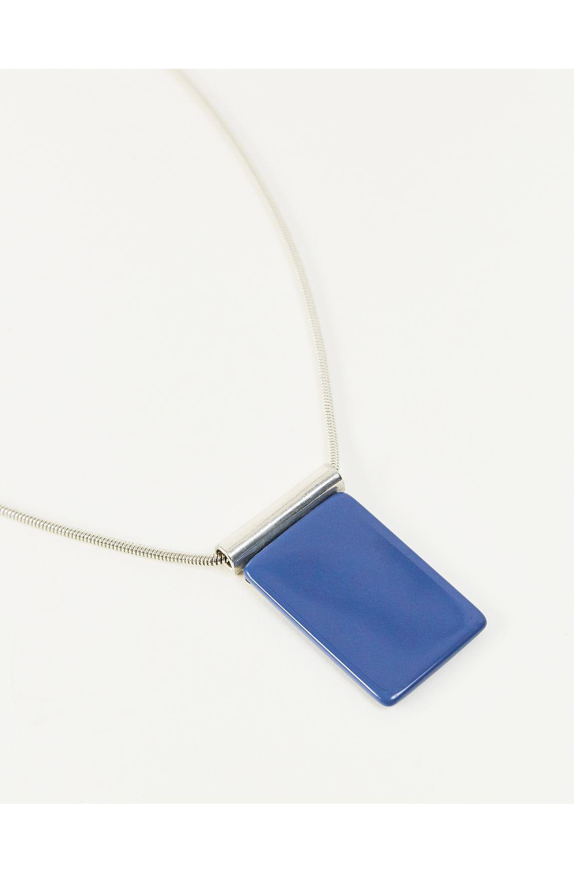 Colar longo maxi resina azul