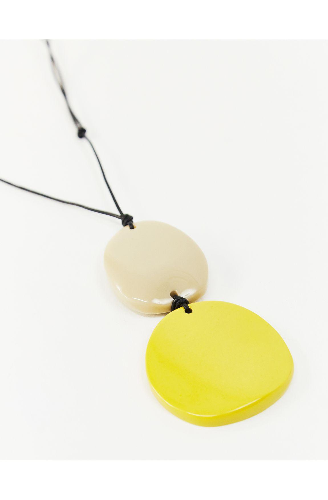 Colar longo resina amarela