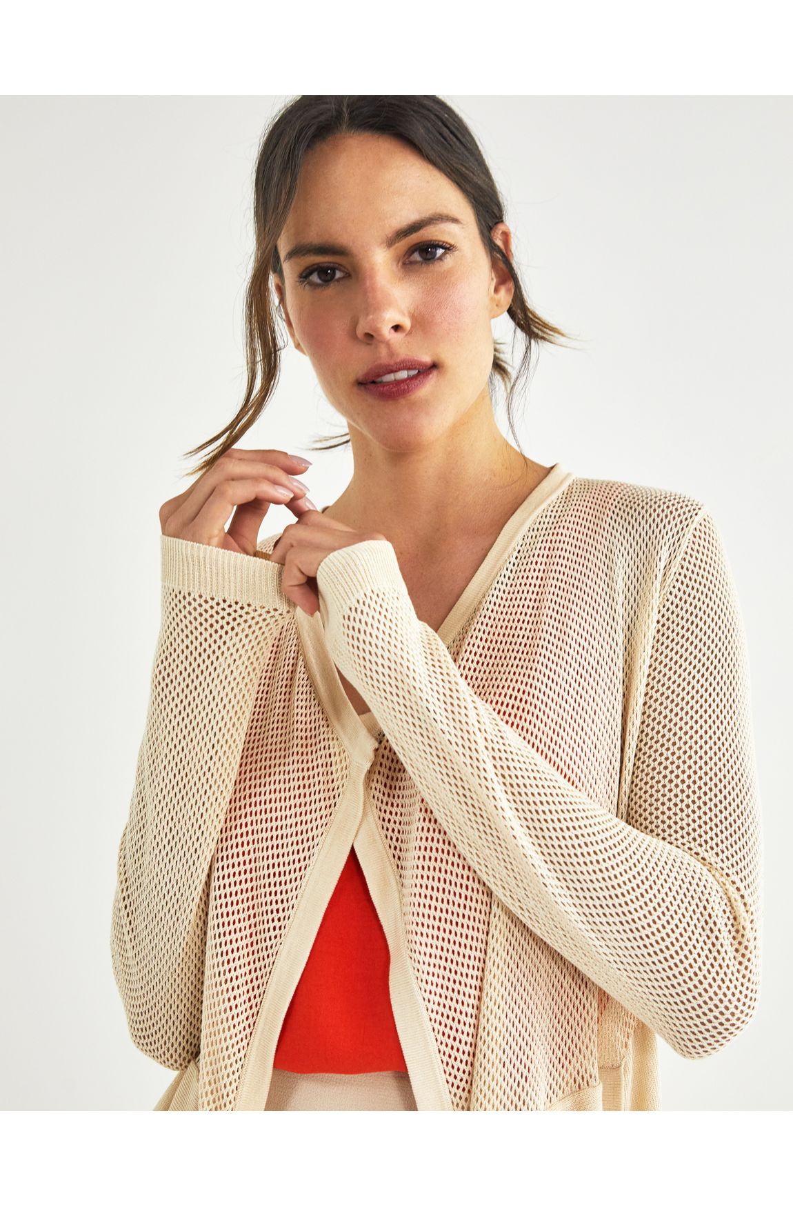 Cardigan tricot telado areia
