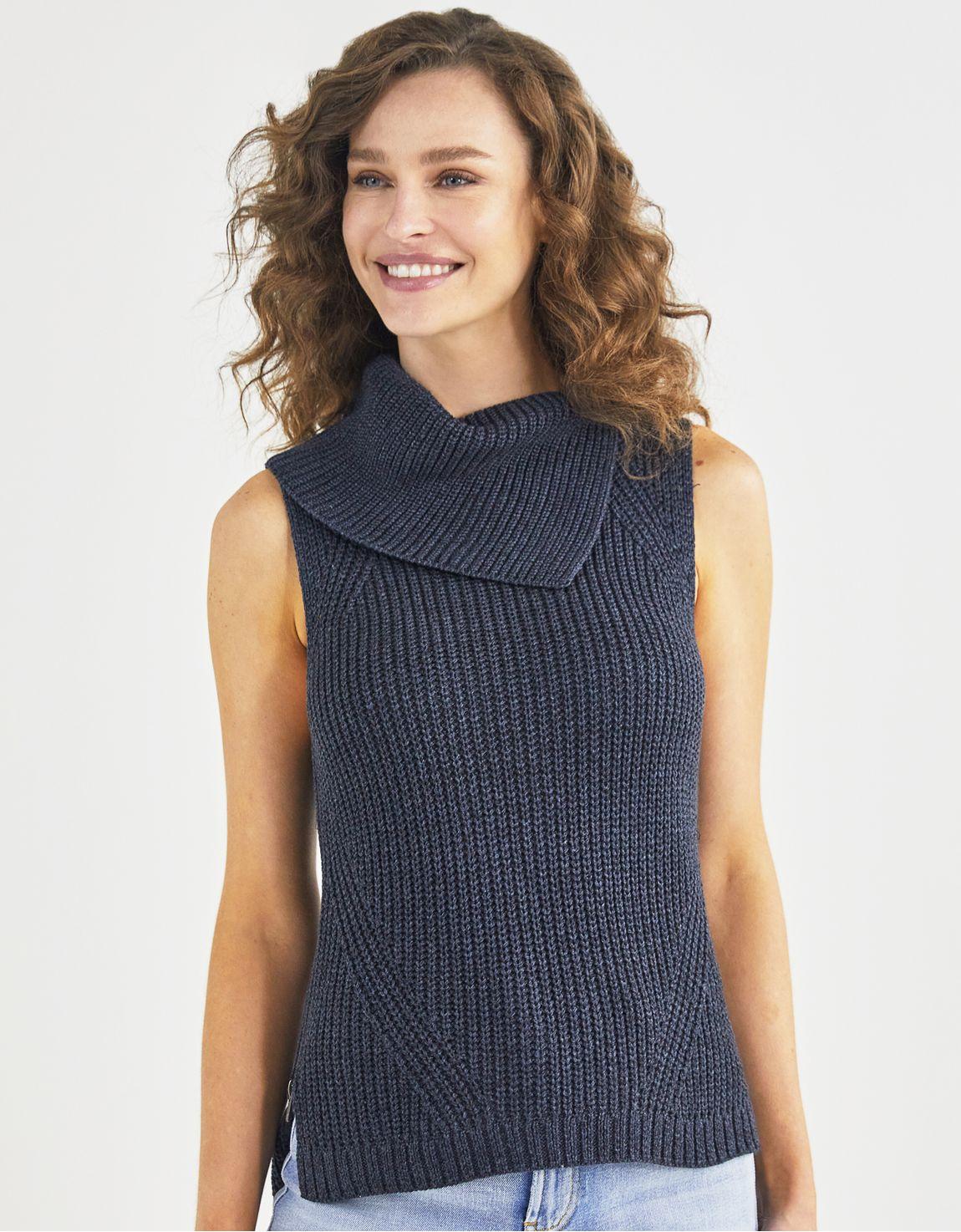 Regata tricot gola assimétrica zíper