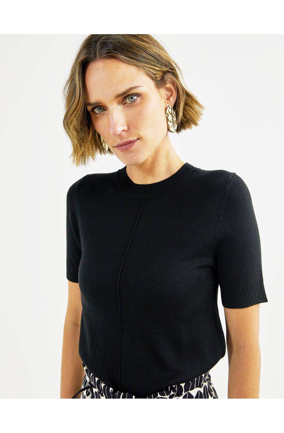 T-shirt tricot basico decote redondo