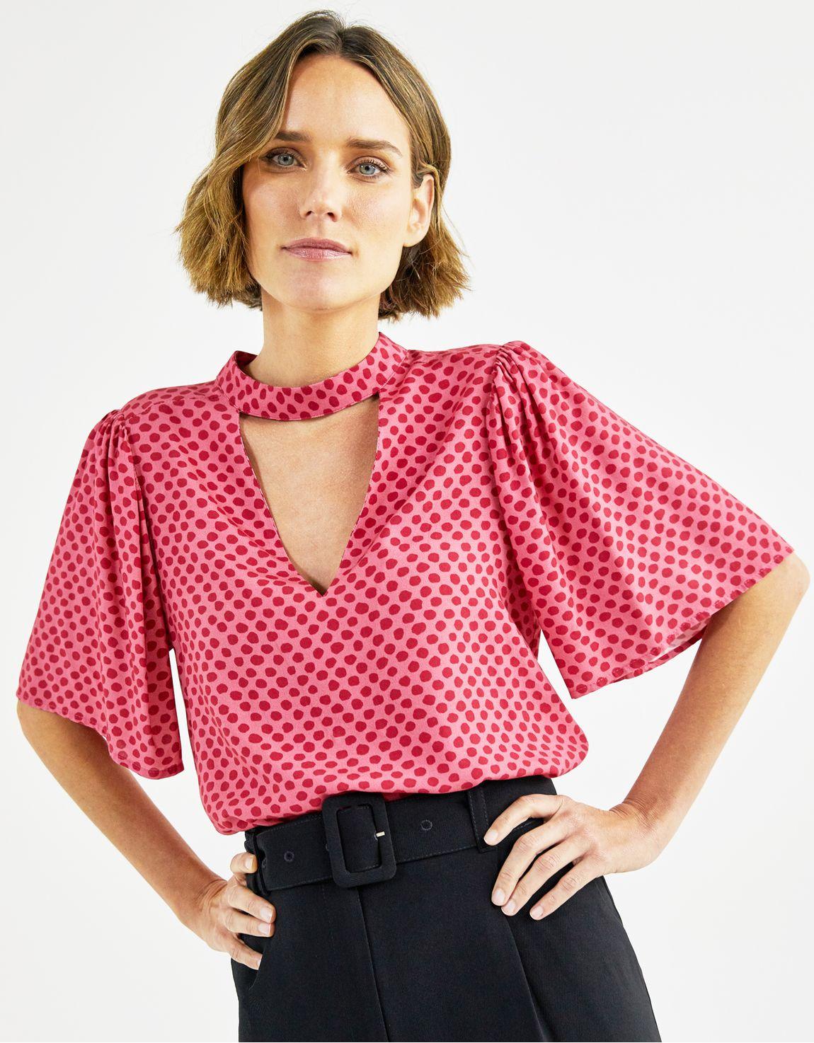 Blusa gola v estampa poá rosa