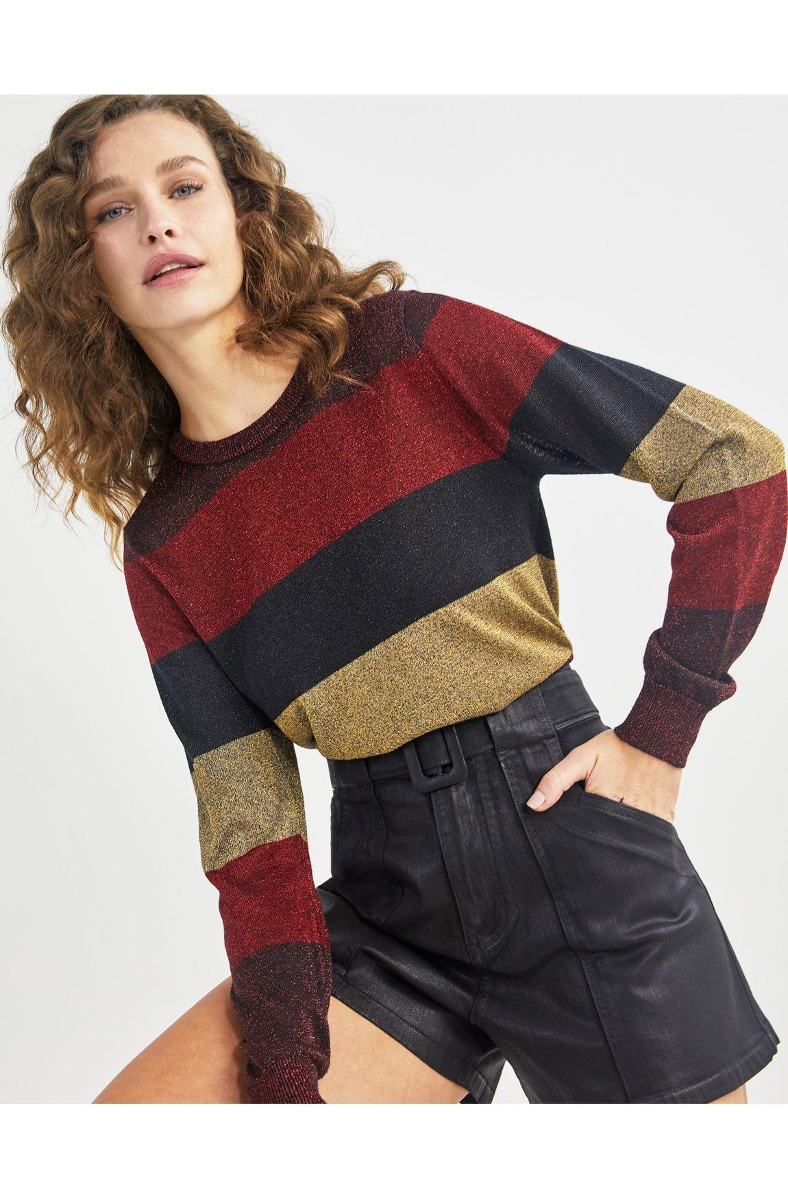 Blusa tricot listrada lurex