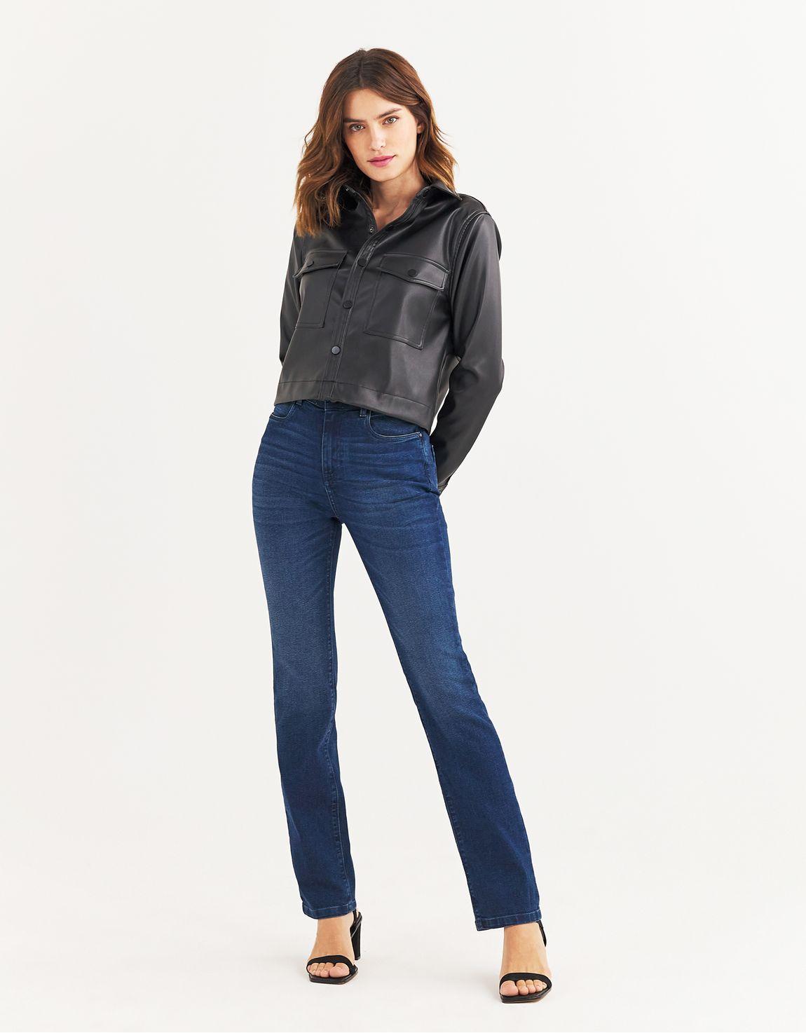 Calça jeans reta escura