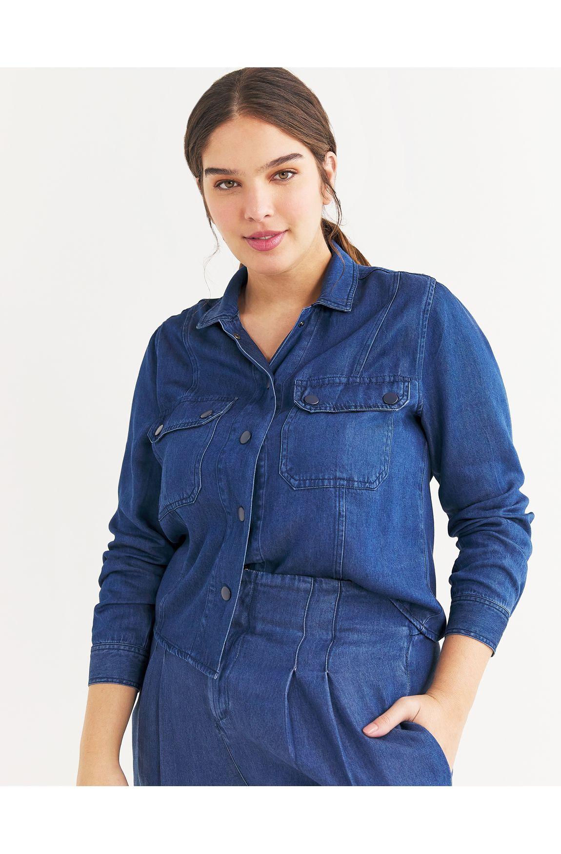 Camisa cropped liocel jeans