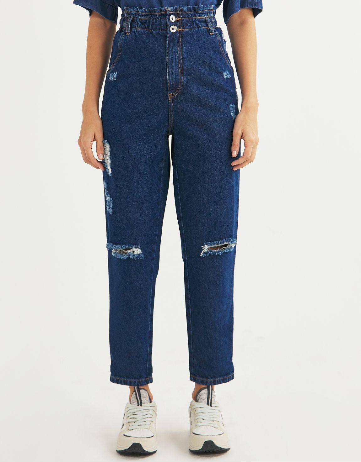 Calça jeans slim clochard