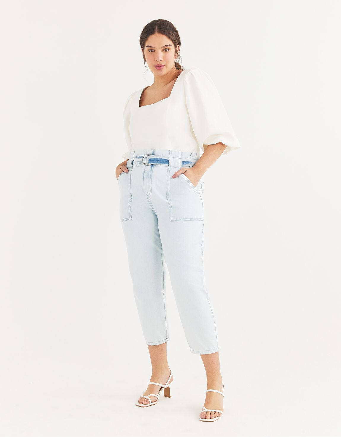 Calça jeans slim bolso aplicado