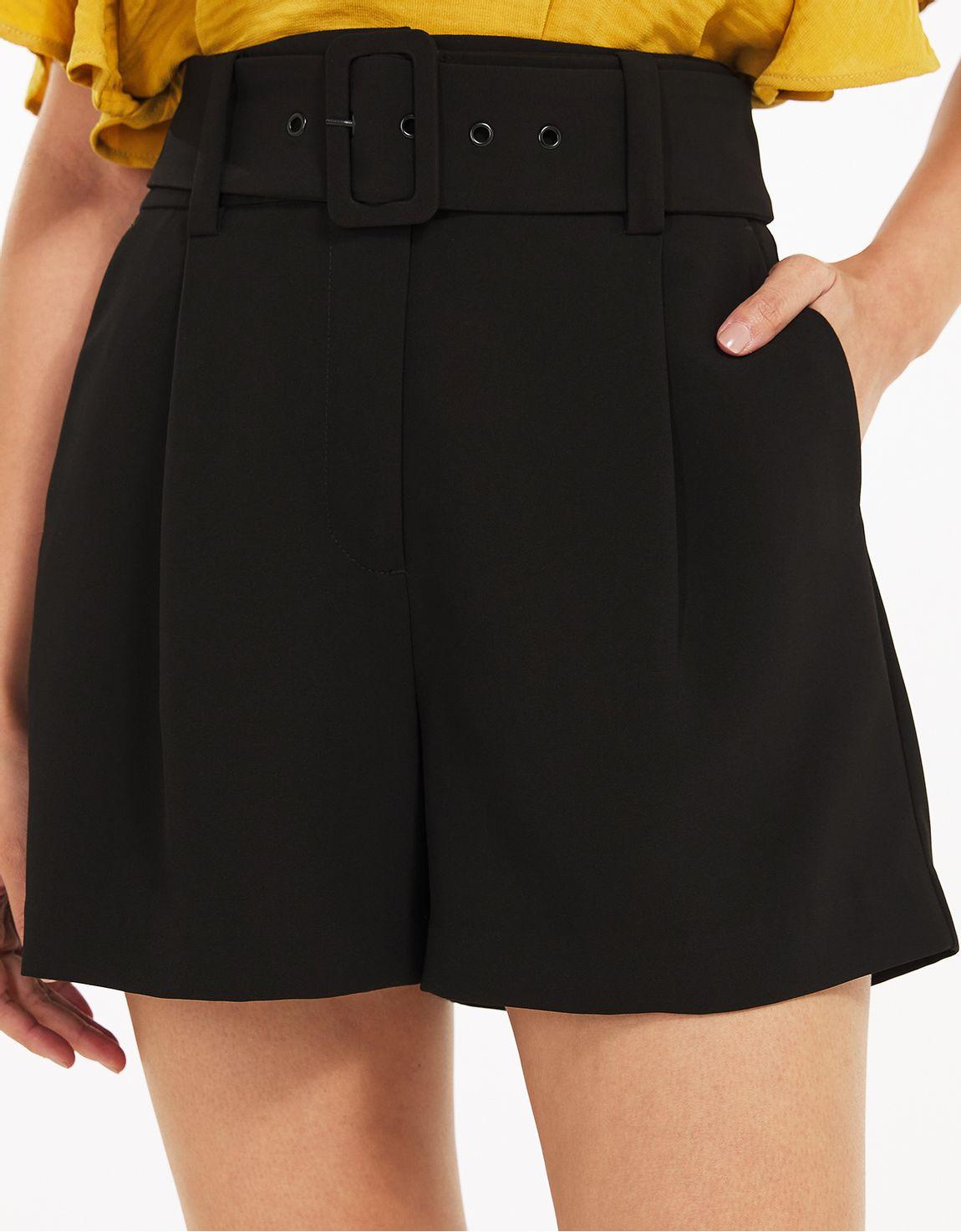 Shorts alfaiatado crepe preto