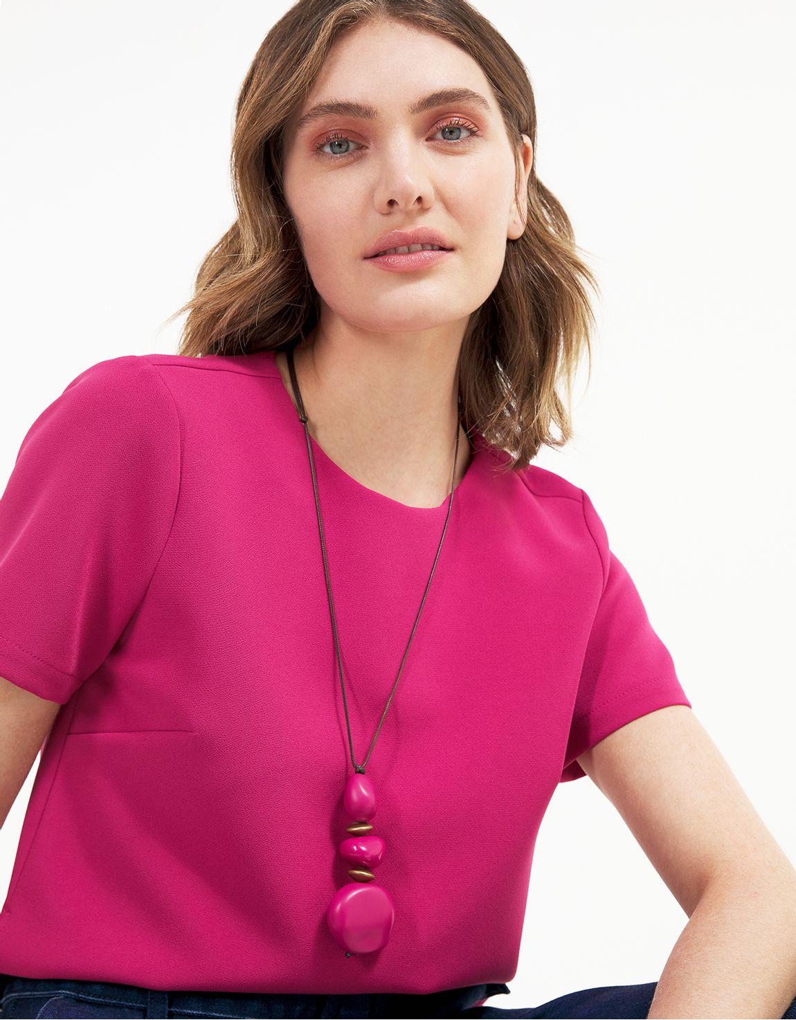 Colar longo resinas pink