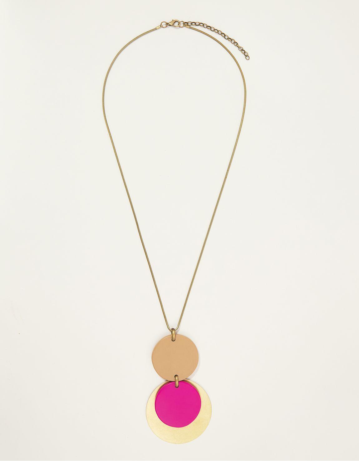 Colar longo metal e resina pink