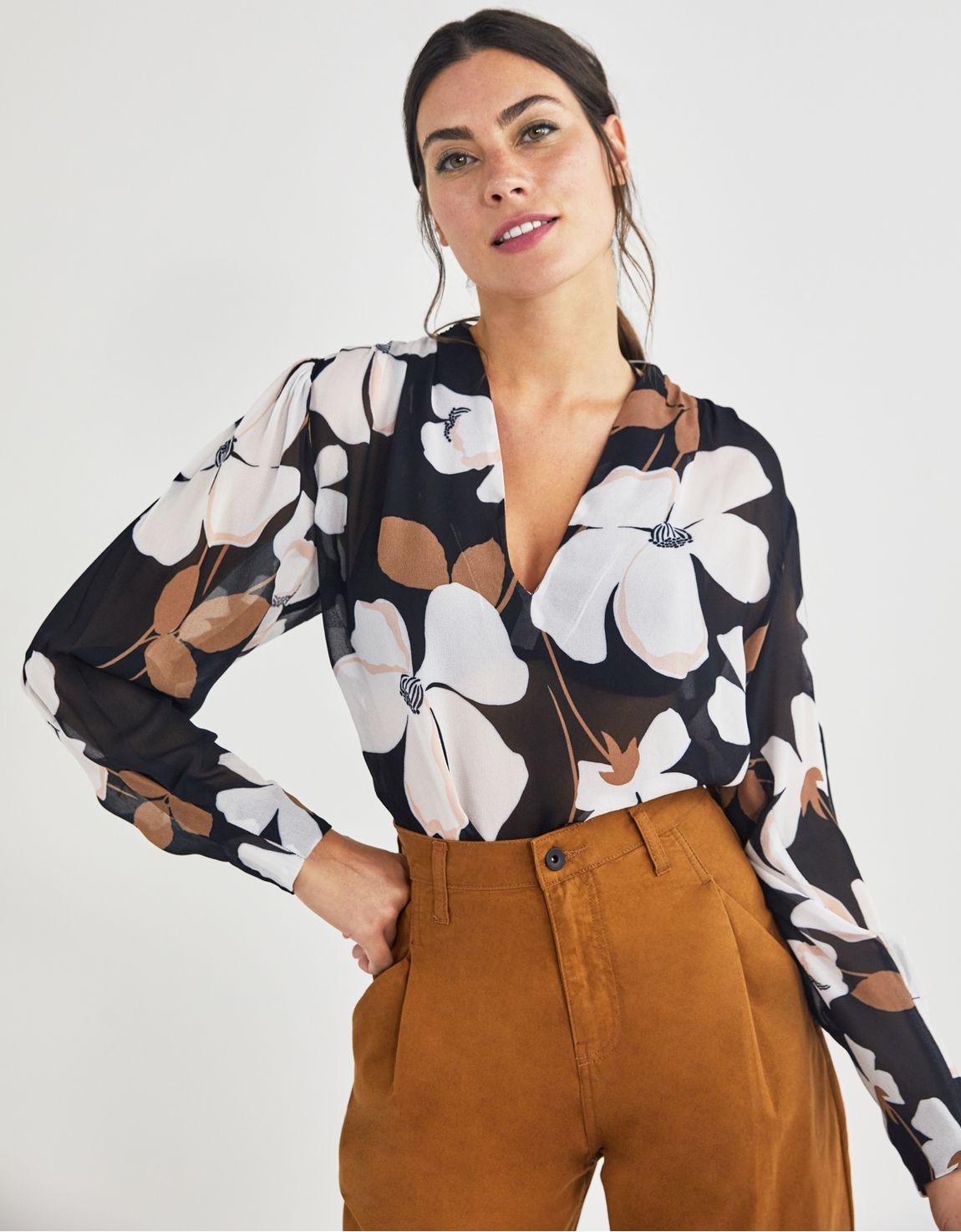 Blusa manga longa estampada