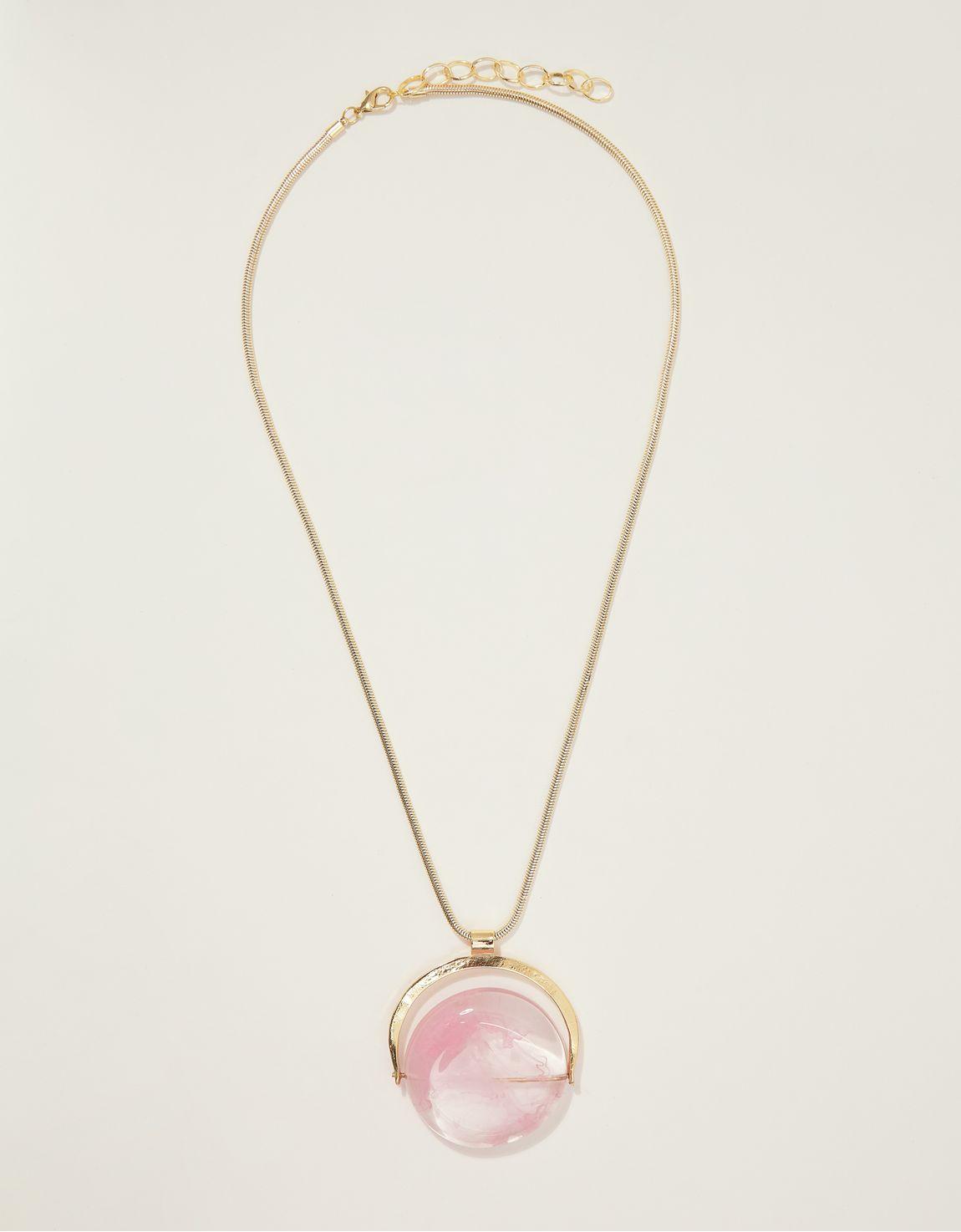 Colar longo resina mesclada rosa