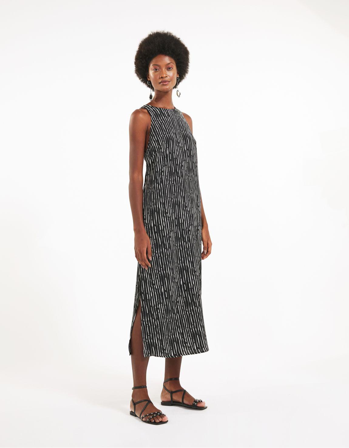 Vestido  listra pincelada preto