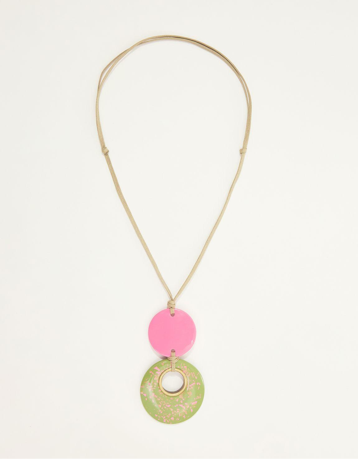 Colar longo granilite verde e rosa