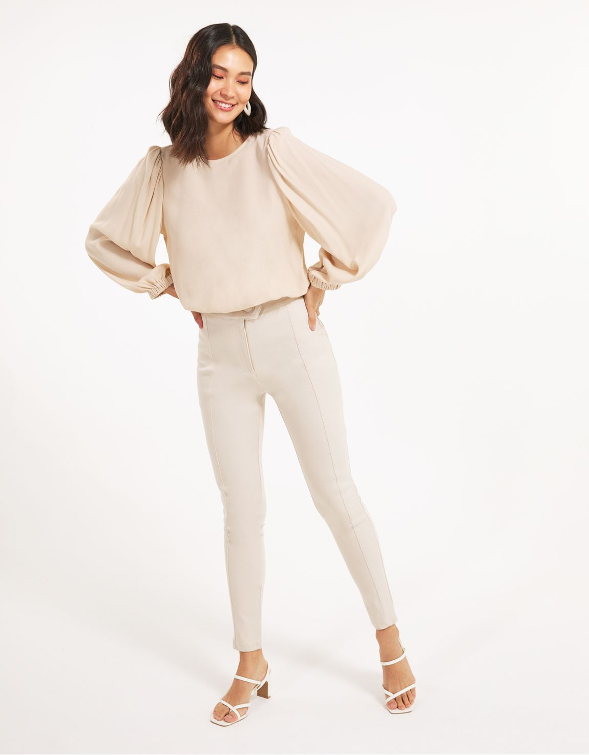 Blusa manga longa com elastico