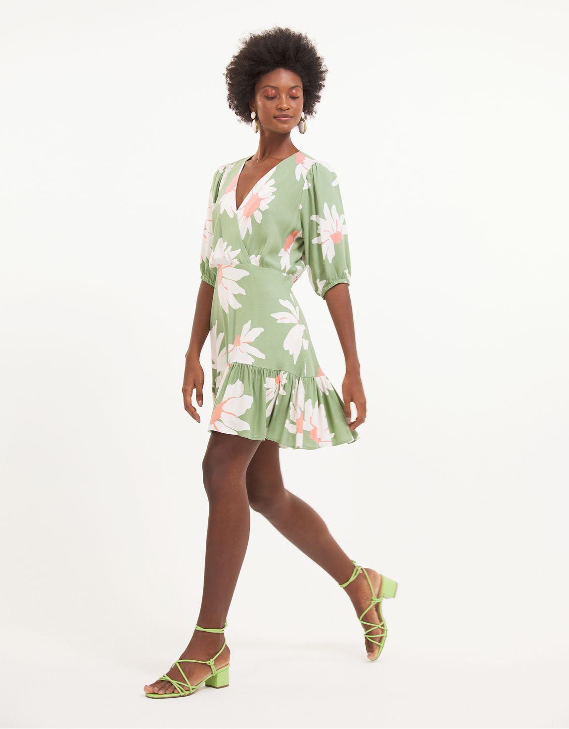 Vestido curto maxi margaridas verde