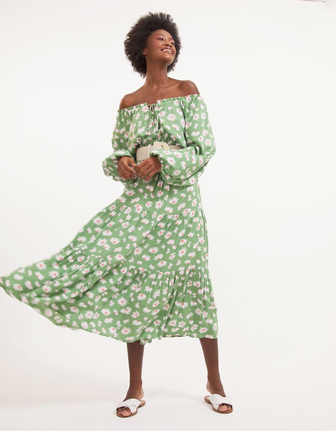 Vestido amarração mini margaridas verde